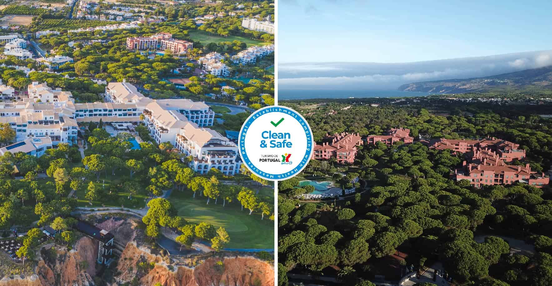 Vistas aéreas Pine Cliffs Resort e Sheraton Cascais Resort, ambas propriedades do grupo UIP com selo Clean and Safe